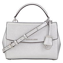 Buy MICHAEL Michael Kors Ava Leather Satchel Bag, Silver Online at johnlewis.com