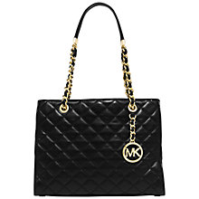 Buy MICHAEL Michael Kors Susannah Medium Leather Tote, Black Online at johnlewis.com