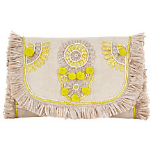 Buy Collection WEEKEND by John Lewis Raffia Clutch Bag, Ornate Yellow Online at johnlewis.com