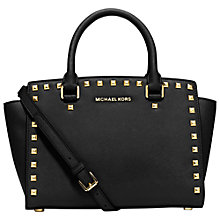 Buy MICHAEL Michael Kors Selma Stud Medium Leather Satchel, Black Online at johnlewis.com
