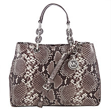 Buy MICHAEL Michael Kors Cynthia Medium Satchel, Grey Snake Online at johnlewis.com