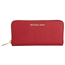 Buy MICHAEL Michael Kors Jet Set Travel Zip Around Leather Continental Purse, Red Online at johnlewis.com