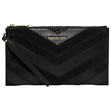 Buy MICHAEL Michael Kors Bedford Leather Zip Clutch, Black Online at johnlewis.com