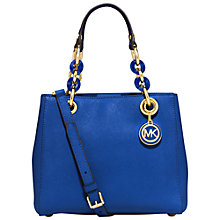 Buy MICHAEL Michael Kors Cynthia North/South Leather Satchel Bag, Blue Online at johnlewis.com