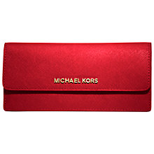 Buy MICHAEL Michael Kors Jet Set Travel Leather Foldover Wallet, Cherry Online at johnlewis.com