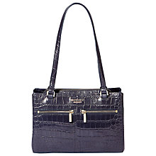 Buy Modalu Pippa Leather Shoulder Bag, Navy Croc Online at johnlewis.com