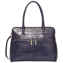 Buy Modalu Classic Pippa Leather Grab Bag, Navy Croc Online at johnlewis.com