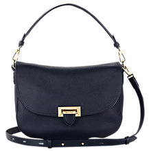 Buy Aspinal of London Letterbox Slouchy Saddle Bag, Navy Online at johnlewis.com