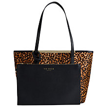 Buy Ted Baker Exotic Crosshatch Small Leather Shopper, Leopard Online at johnlewis.com
