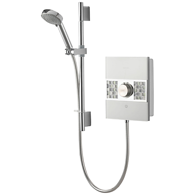 Aqualisa Sassi XT 9.5kW Electric Shower with Adjustable Head, White Mosaic Tiles/Chrome