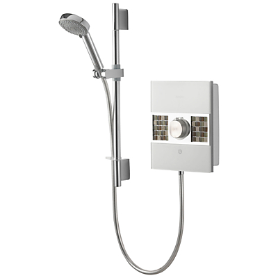 Aqualisa Sassi XT 9.5kW Electric Shower with Adjustable Head, Stone Mosaic Tiles/Chrome