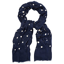 Buy White Stuff Fluffy Spot Scarf, Navy Online at johnlewis.com