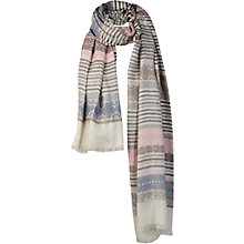 Buy Fat Face Stripe Jacquard Scarf, Cream Online at johnlewis.com