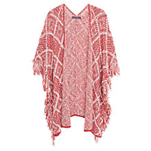 Buy Violeta by Mango Fringed Cotton Blend Cape, Dark Red Online at johnlewis.com