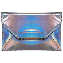 Buy Miss Selfridge Hologram Clutch Bag, Pewter Online at johnlewis.com