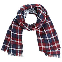 Buy Miss Selfridge Duo Check Scarf, Burgundy Online at johnlewis.com