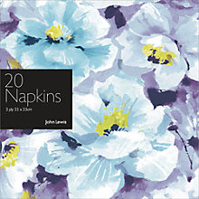 Buy John Lewis Blue Flower Disposable Napkins, Pack of 20 Online at johnlewis.com
