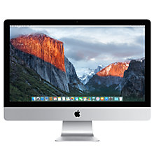 "Buy Apple iMac with Retina 5K display MK472B/A All-in-One Desktop Computer, 3.2GHz Quad-core Intel Core i5, 8GB RAM, 1TB Fusion Drive, 27"", Silver Online at johnlewis.com"
