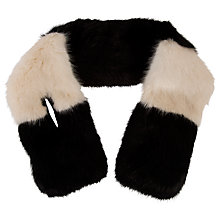 Buy Chesca Block Faux Fur Collar Scarf, Black/Almond Online at johnlewis.com
