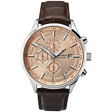 Buy Sekonda 1105.27 Men's Chronograph Leather Strap Watch, Brown/Rose Gold Online at johnlewis.com