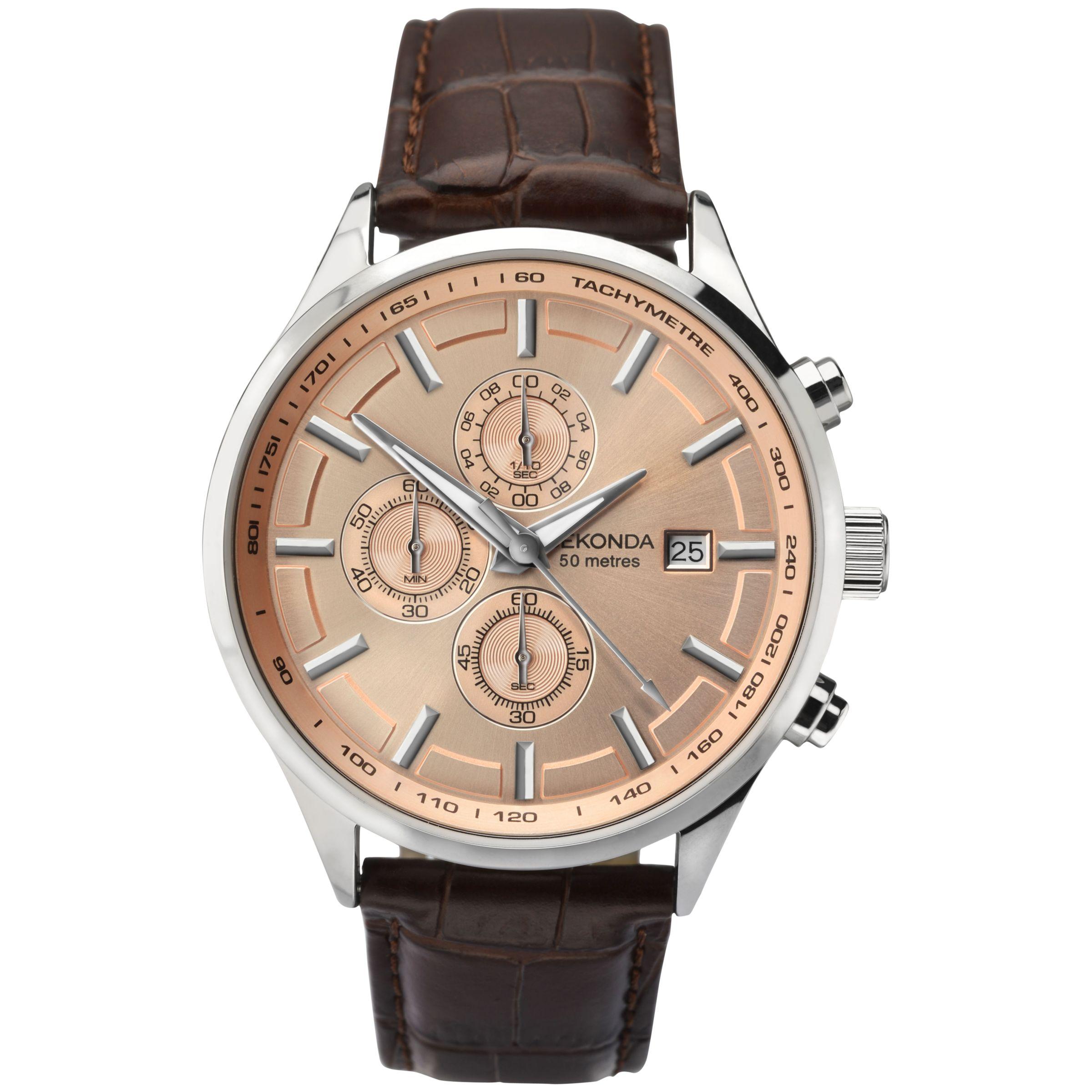Sekonda Sekonda 1105.27 Men's Chronograph Leather Strap Watch, Brown/Rose Gold