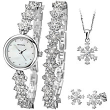 Buy Sekonda 2087G.76 Women's Flower Crystal Bracelet Strap Watch, Bracelet, Pendant and Stud Earrings Christmas Gift Set, Silver/White Online at johnlewis.com