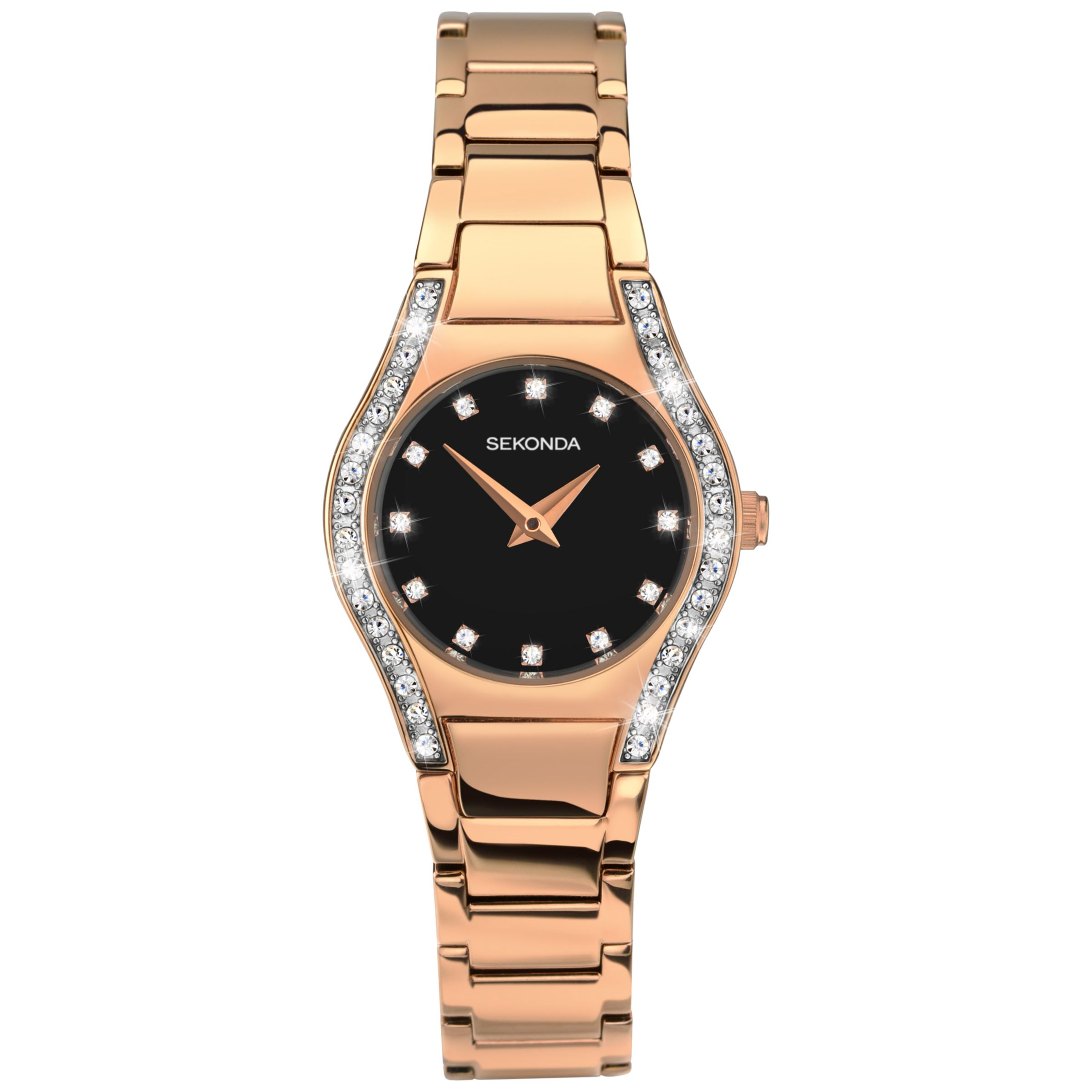 Sekonda Sekonda 2200.27 Women's Aurora Diamante Bracelet Strap Watch, Rose Gold/Black