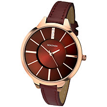 Buy Sekonda 2245.27 Women's Rose Gold Faux Leather Strap Watch, Deep Red Online at johnlewis.com