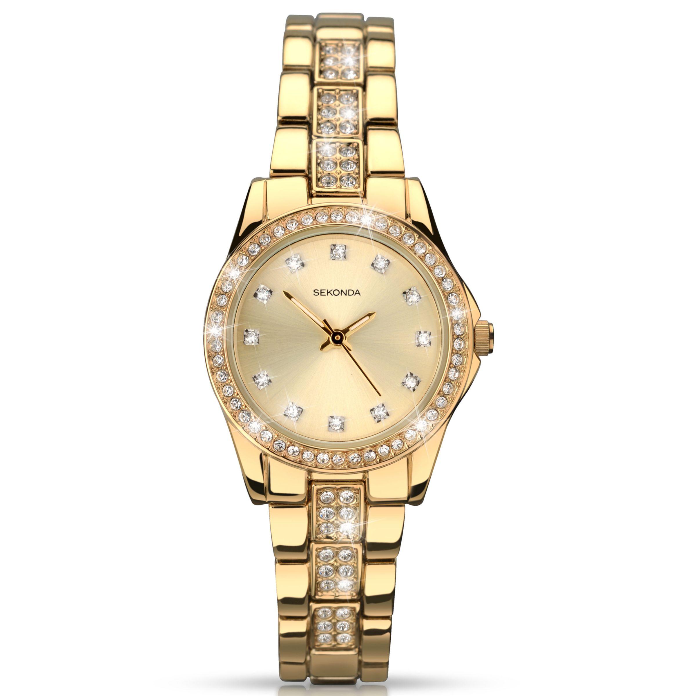 Sekonda Sekonda 2020.27 Women's Diamante Bracelet Strap Watch, Gold