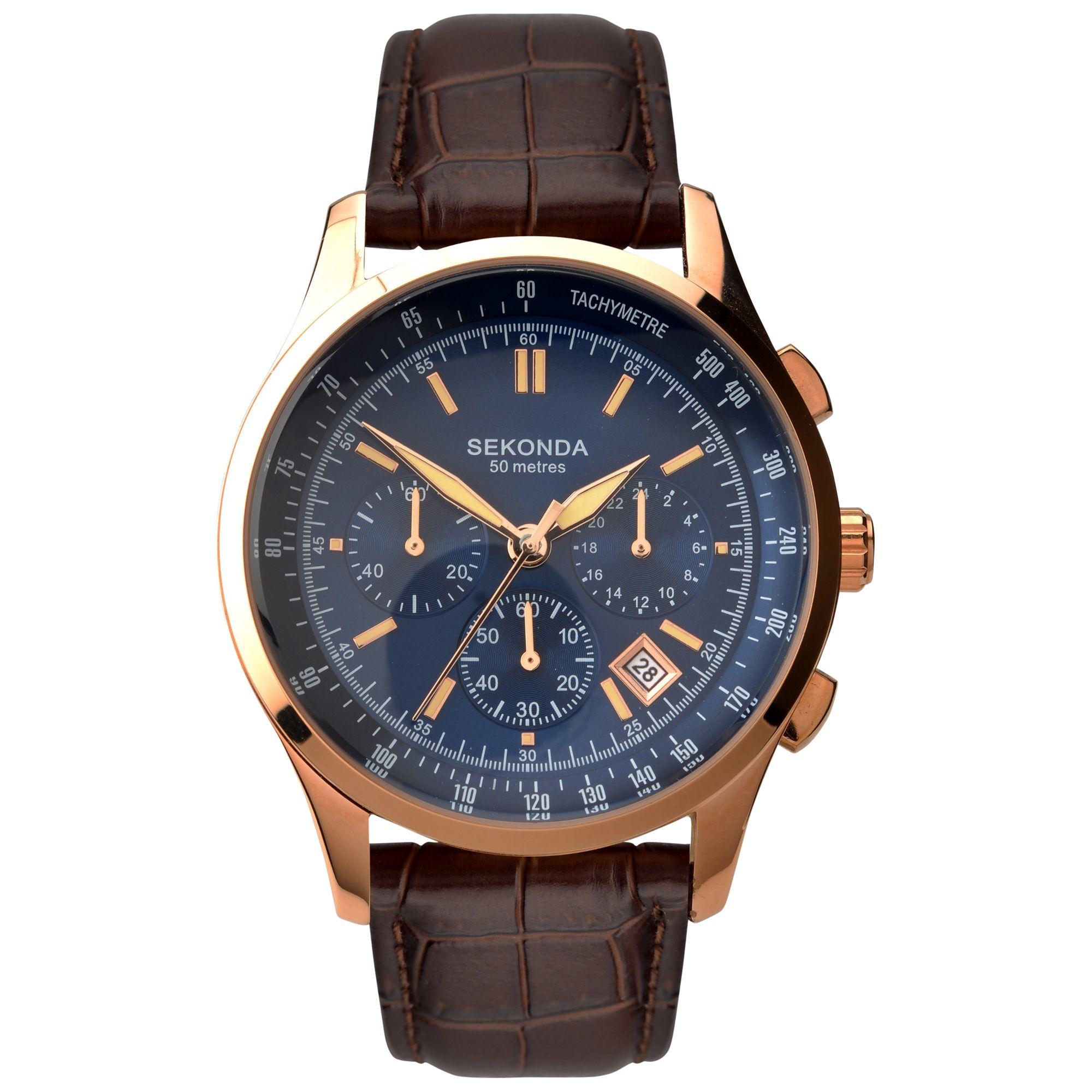Sekonda Sekonda 1157.27 Men's Chronograph Leather Strap Watch, Brown/Blue