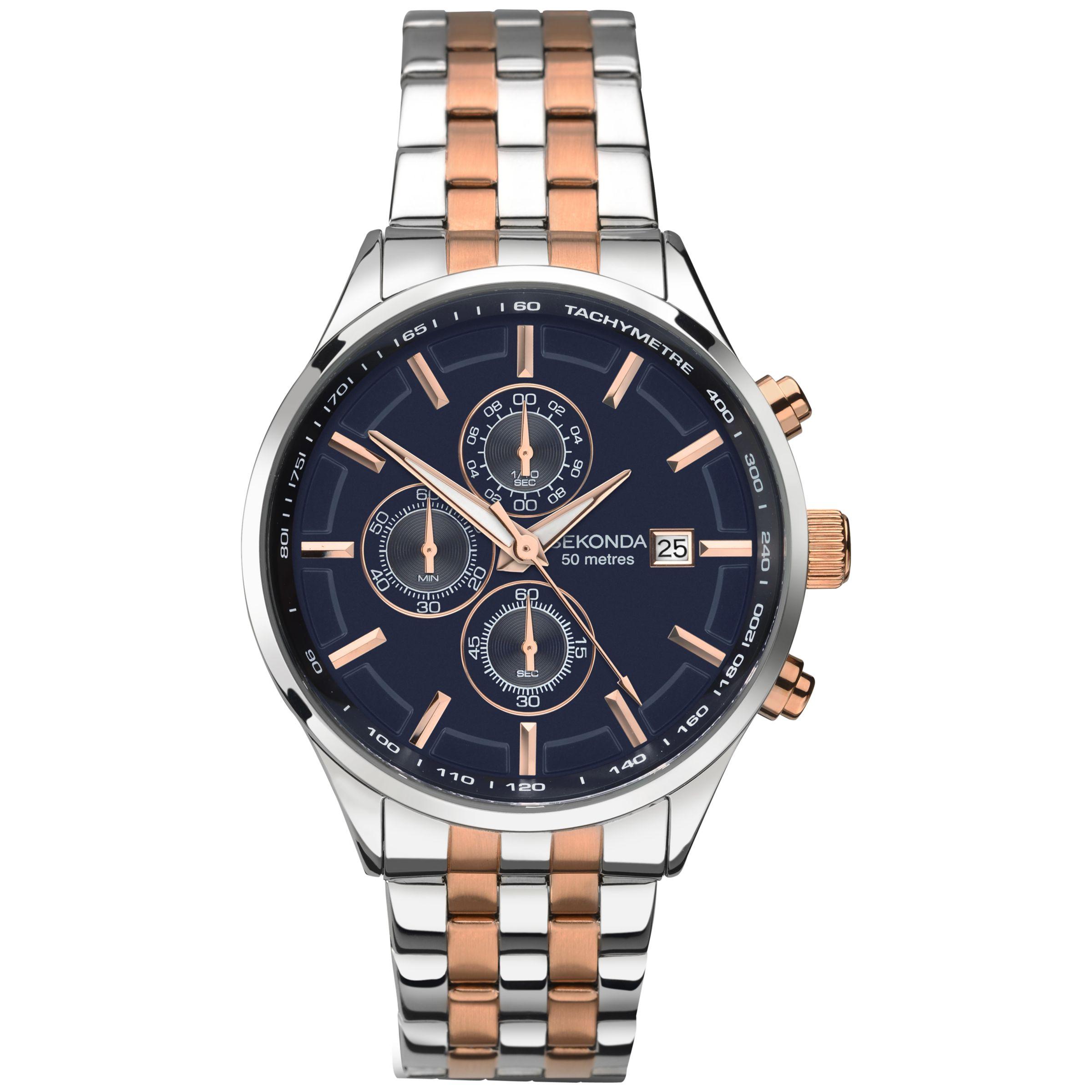 Sekonda Sekonda 1107.27 Men's Velocity Two Tone Stainless Steel Chronograph Bracelet Strap Watch, Silver/Rose Gold