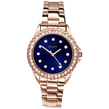 Buy Sekonda 2205.27 Women's Diamante Stainless Steel Bracelet Strap Watch, Rose Gold/Blue Online at johnlewis.com