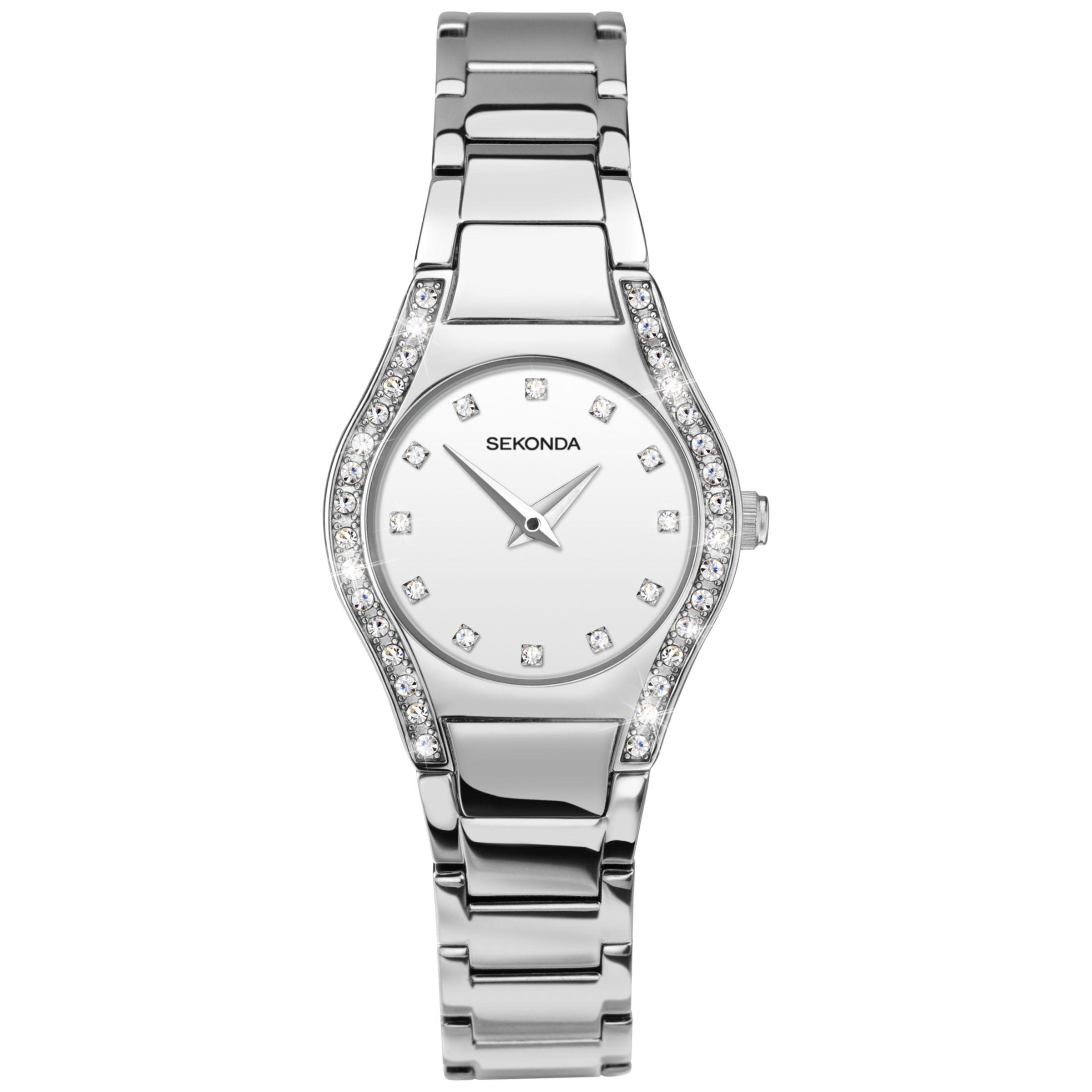 Sekonda Sekonda 2199.27 Women's Diamante Bracelet Strap Watch, Silver/White