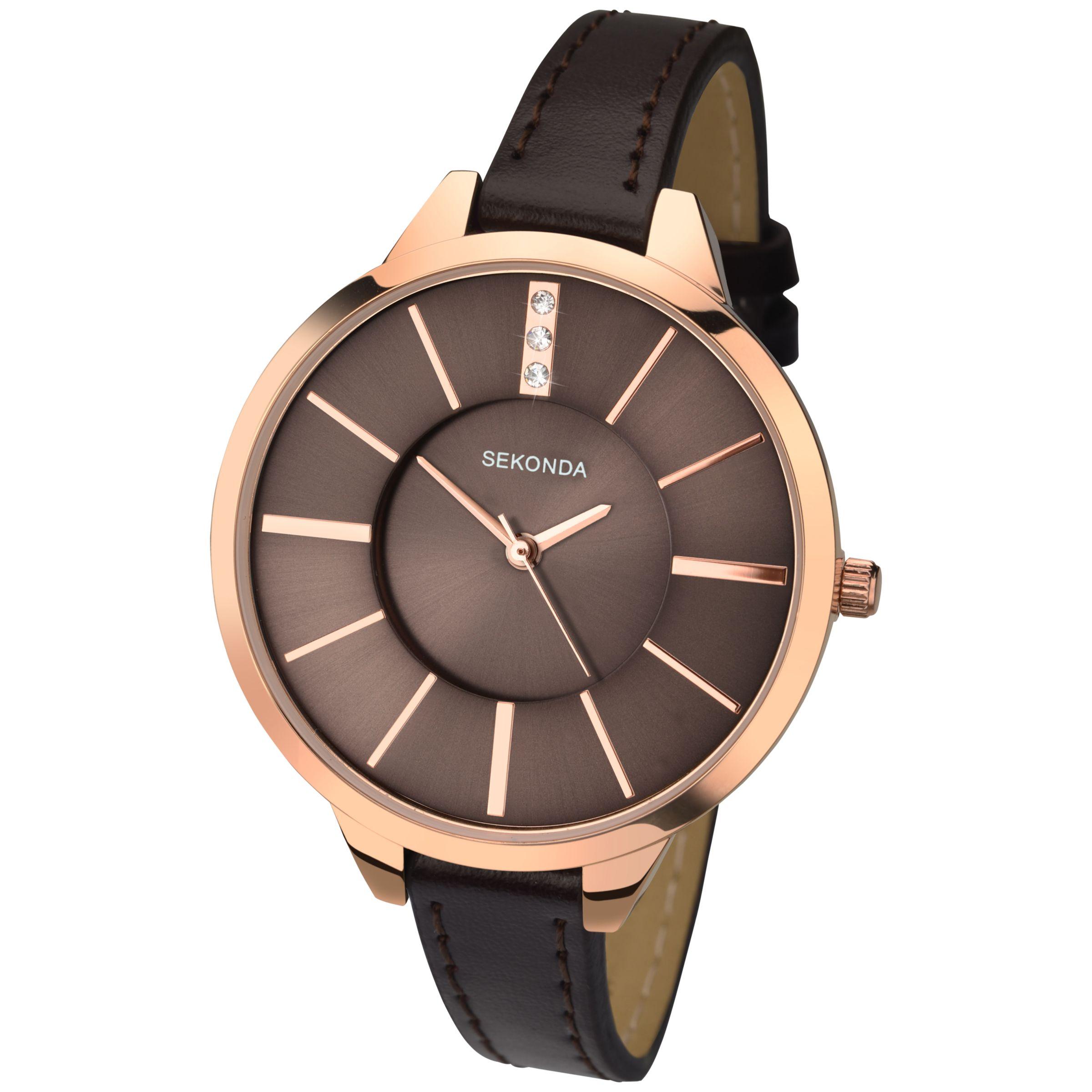 Sekonda Sekonda 2250.27 Women's Rose Gold Faux Leather Strap Watch, Mink