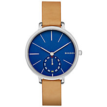 Buy Skagen SKW2355 Women's Hagen Leather Strap Watch, Tan/Blue Online at johnlewis.com