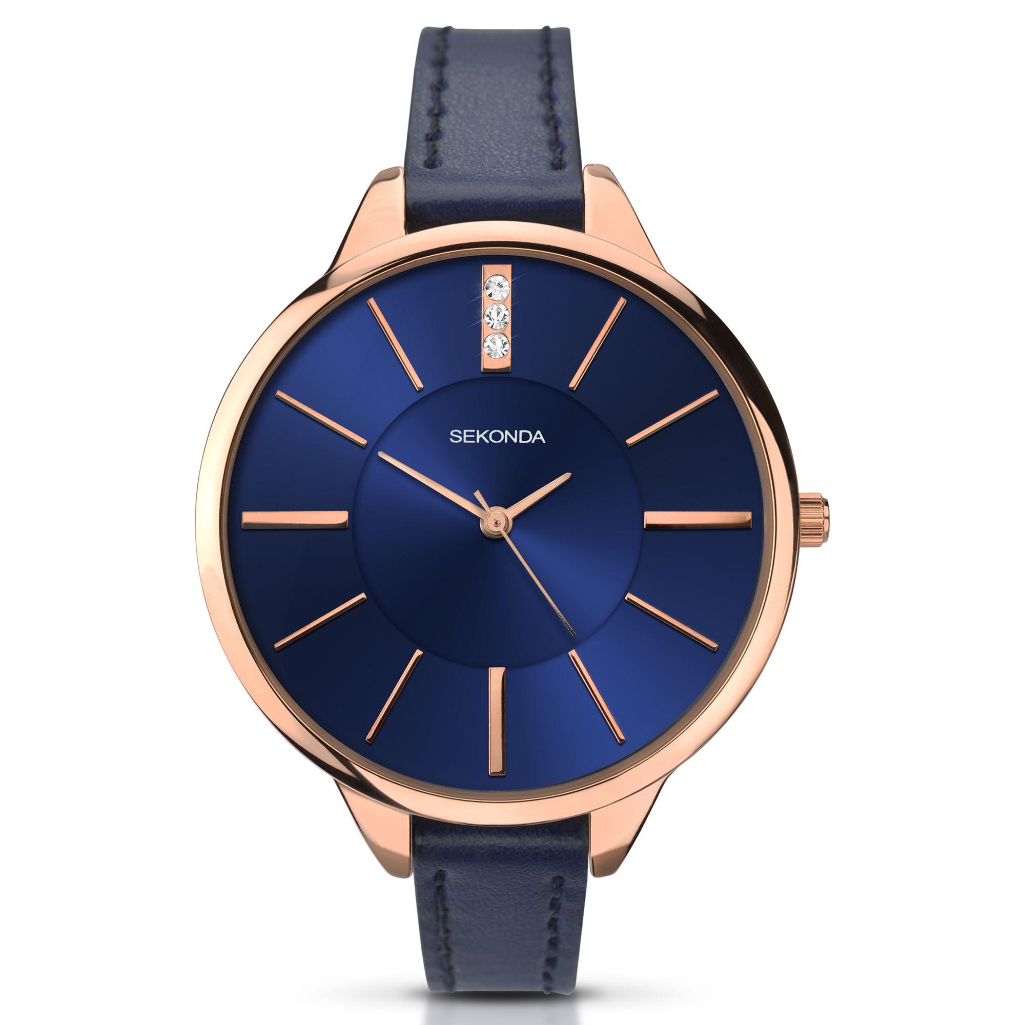 Sekonda Sekonda 2144.27 Women's Diamante Faux Leather Strap Watch, Blue
