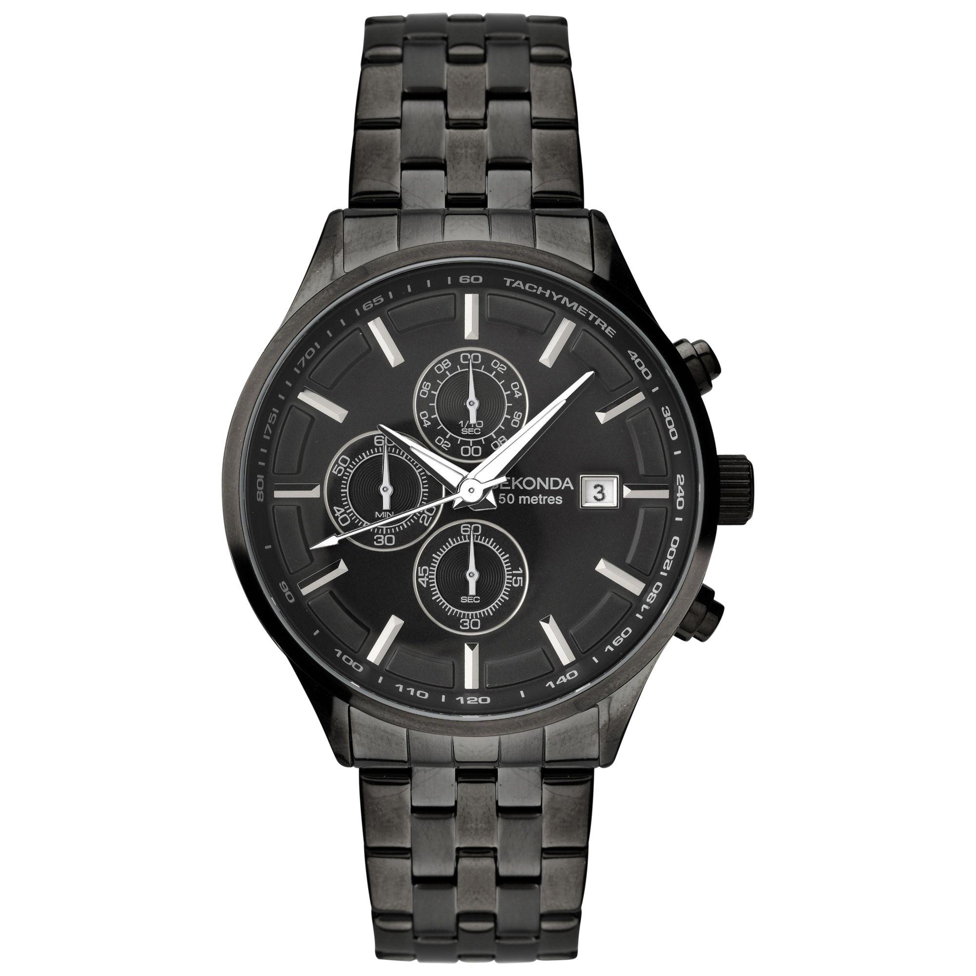 Sekonda Sekonda 1158.27 Men's Chronograph Bracelet Strap Watch, Black