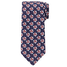 Buy JOHN LEWIS & Co. Lauper Silk Linen Posy Print Tie, Navy/Red Online at johnlewis.com