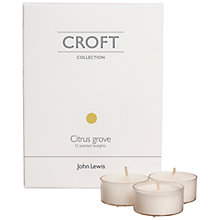 Buy John Lewis Croft Collection Tealights, Citrus Grove, Pack of 12 Online at johnlewis.com