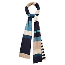 Buy Viyella Colour Block Knit Scarf, Navy Online at johnlewis.com