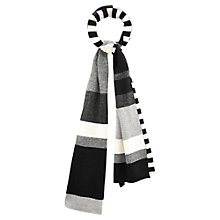 Buy Viyella Colour Block Stripe Scarf, Black Online at johnlewis.com