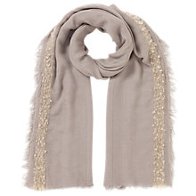 Buy East Boucle Border Scarf, Stone Online at johnlewis.com