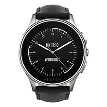 Buy Vector Luna Brushed Stainless Steel Case and Padded Leather Strap Smartwatch, Black Online at johnlewis.com