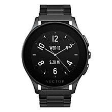 Buy Vector Luna Brushed Stainless Steel Ion Plated Bracelet Smartwatch, Black Online at johnlewis.com