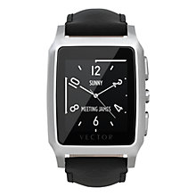 Buy Vector Meridian Brushed Stainless Steel Case and Padded Leather Strap Smartwatch, Black Online at johnlewis.com