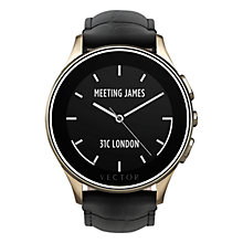 Buy Vector Luna Polished Stainless Steel Champagne Gold Case and Padded Crocodile Leather Strap Smartwatch, Black Online at johnlewis.com