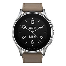 Buy Vector Luna Brushed Stainless Steel Case and  Leather Strap Smartwatch, Tan Online at johnlewis.com