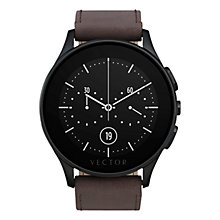 Buy Vector Luna Brushed Stainless Steel and Leather Strap Smartwatch, Dark Brown Online at johnlewis.com