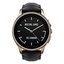 Buy Vector Luna Polished Stainless Steel Rose Gold Case and Padded Crocodile Leather Strap Smartwatch, Black Online at johnlewis.com