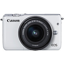 Buy Canon EOS M10 Compact System Camera with EF-M 15-45mm f/3.5-6.3 IS STM Wide Angle Zoom Lens, White with Face Jacket, Raspberry Online at johnlewis.com